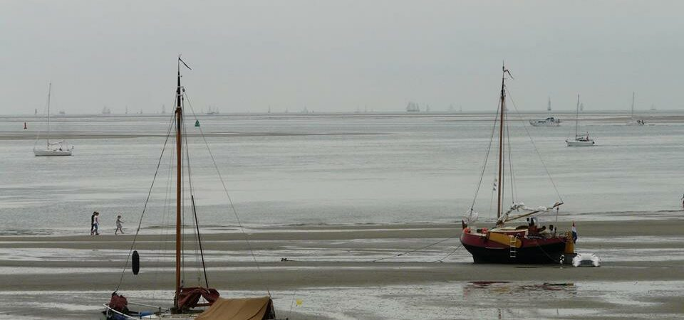 twee boten op groene strand